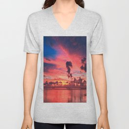 Blue And Purple Sky By The Sunset Unisex V-Neck