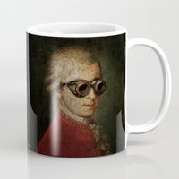mozart Mugs featuring Funny Steampunk Mozart by Paul Stickland for StrangeStore
