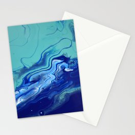 Blue Fluid Art Macro Navy Turquoise Stationery Cards
