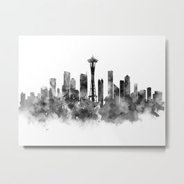Seattle Black and White Metal Print