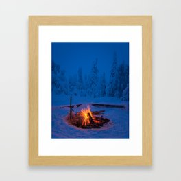 Flames in the winter night Framed Art Print