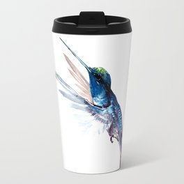 Hummingbird, Navy Blue Turquoise Artwork Travel Mug