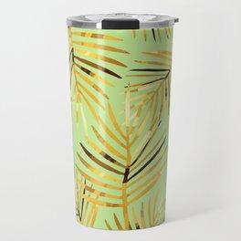 Palm Leaf - green light background Travel Mug