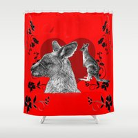 kangaroo Shower Curtains featuring Kangaroo by SwanniePhotoArt