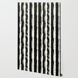 Simply Cream and Black Stripes II Wallpaper