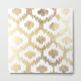 Modern white hand drawn ikat pattern faux gold  Metal Print