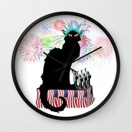 Lady Liberty - Patriotic Le Chat Noir Wall Clock