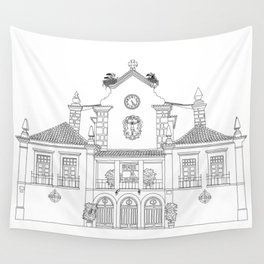 Storks on the Roof - Line Art Wall Tapestry