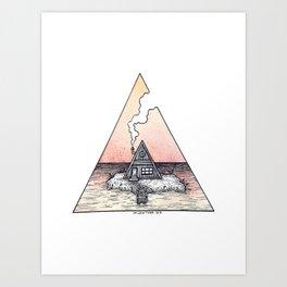 Sunset Cabin Art Print