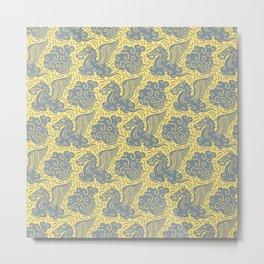 Pegasus Pattern Grey and Yellow Metal Print