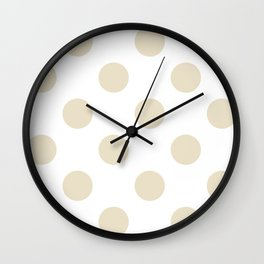 Large Polka Dots - Pearl Brown on White Wall Clock