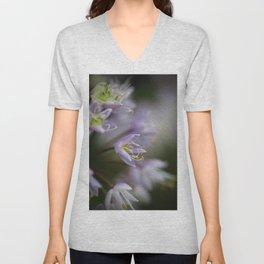 Delicate Purple Flowers Unisex V-Neck