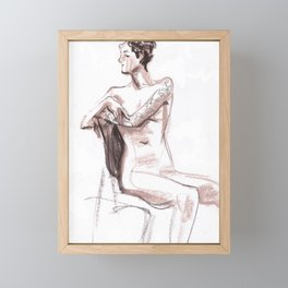 Nude model, life sketch Framed Mini Art Print