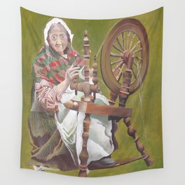 Old Irish Woman Sitting At A Spinning Wheel Wall Tapestry