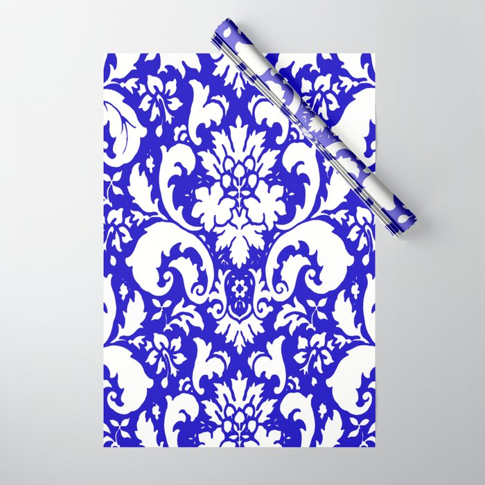 Paisley Damask Blue and White Wrapping Paper