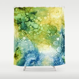 blue green and teal rays Shower Curtain