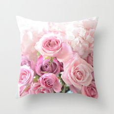 Pink Bouquet of Roses Throw Pillow