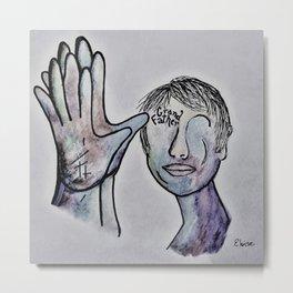 ASL Grandfather in Denim Colors Metal Print