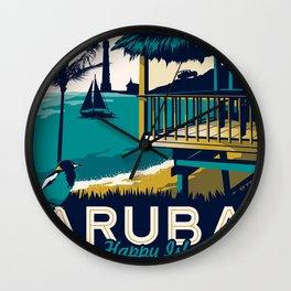 aruba vintage travel poster Wall Clock