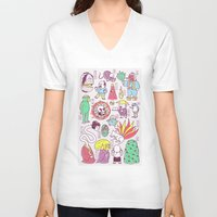 japanese V-neck T-shirts featuring Yokai / Japanese Supernatural Monsters by Kimiaki Yaegashi