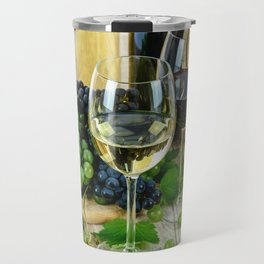 Glasses of Wine plus Grapes and Barrel Travel Mug