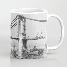 Old Time Godzilla Manhattan Bridge Coffee Mug