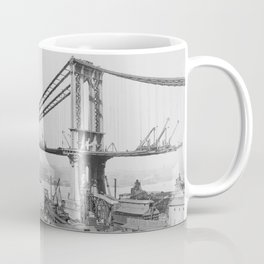 Old Time Godzilla Manhattan Bridge Coffee Mug