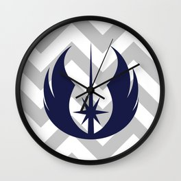 Jedi Order in Navy on Gray Chevrons Wall Clock