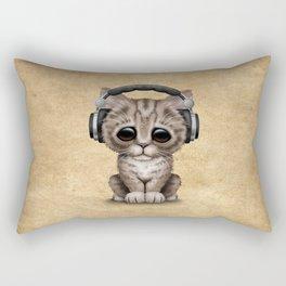Cute Kitten Dj Wearing Headphones Rectangular Pillow