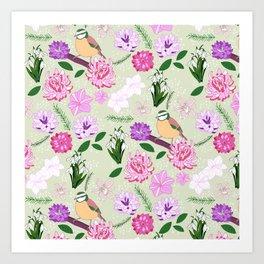 Joyful spring pink toned floral pattern with bird Art Print