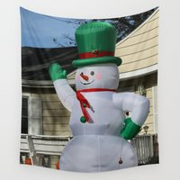 disco Wall Tapestries featuring Disco Snowman by IowaShots