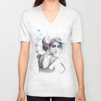 butterflies V-neck T-shirts featuring Butterflies by Olechka