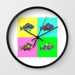 four patterned abstract fish Wall Clock