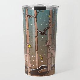 Birch Trees with Birds And Deer Travel Mug