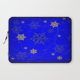 Decorative Scenic Blue Swirling Snowflakes Winter Vista Laptop Sleeve