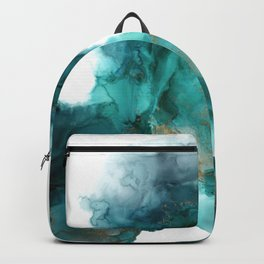 Wild Wave - alcohol ink painting, abstract wave, fluid art, teal, gold colored accents Backpack