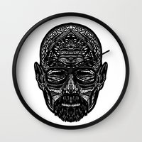 walter white Wall Clocks featuring Walter White by Jamie Bryan