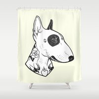 bull terrier Shower Curtains featuring Bull Terrier dog Tattooed by PaperTigress