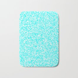 Tiny Spots - White and Aqua Cyan Bath Mat