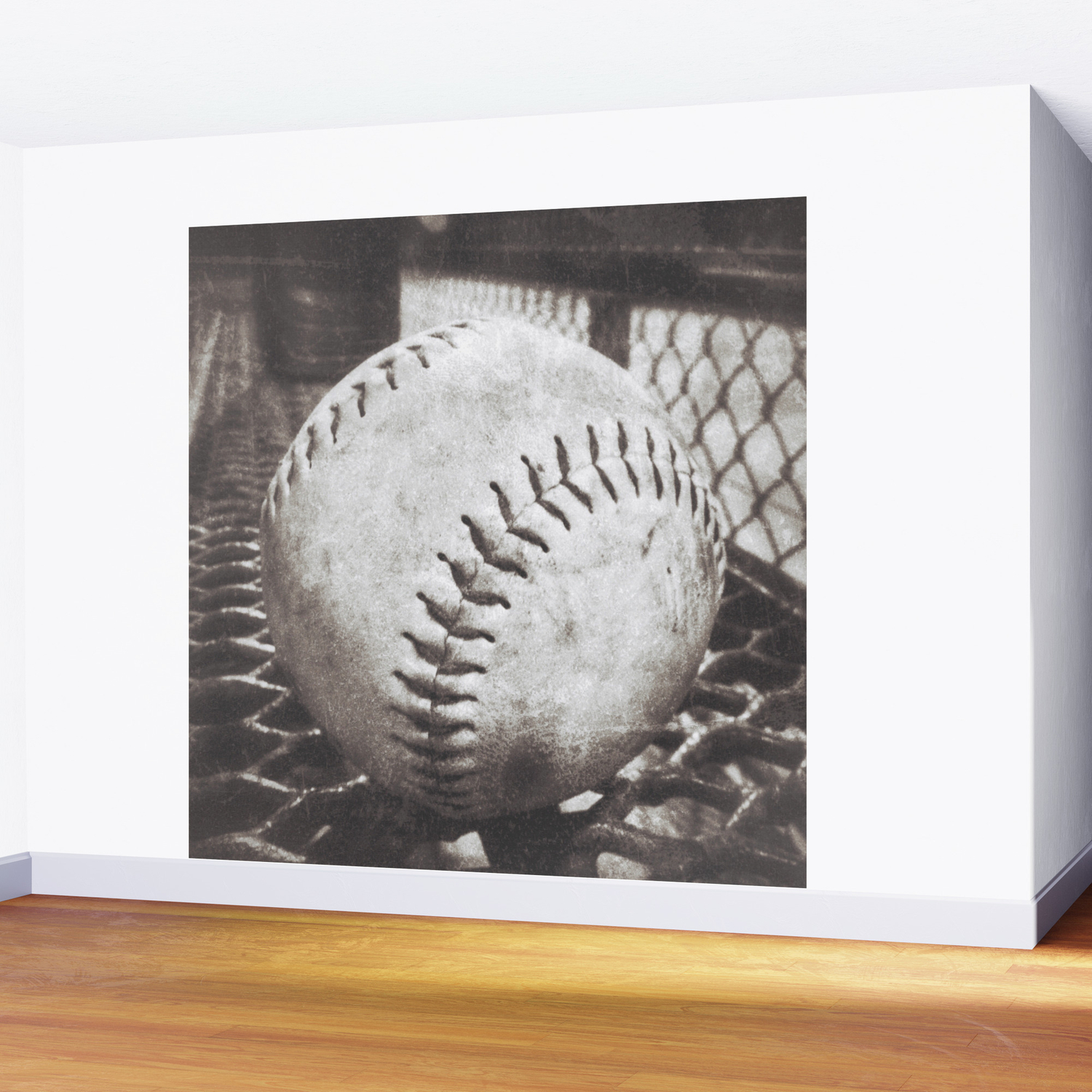 Softball on the Bench in Sepia Wall Mural