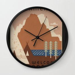 Vintage MontanaTravel Poster Wall Clock