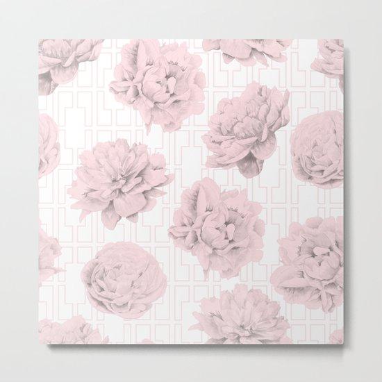 Rose Garden Pink Flamingo Mid-Century Lattice Metal Print