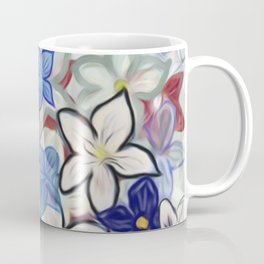 Overcrowded Flower Garden with Pink Hummingbirds Coffee Mug