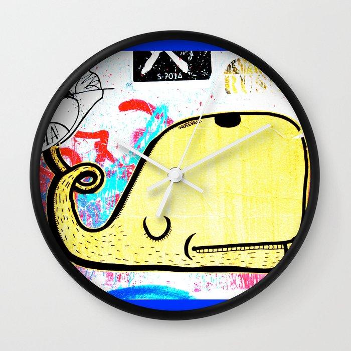 Melbourne Graffiti Street Art - Yellow Whale Wall Clock by nicnik ...
