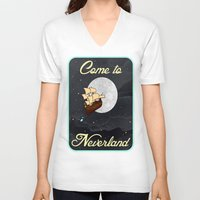 neverland V-neck T-shirts featuring Disney's Peter Pan Neverland Travel Poster by foreverwars