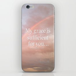 My grace is sufficient...2 Corinthians 12:9 - Bible verse (rainbow) iPhone Skin