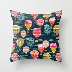 Hot Air Balloons - Retro, Vintage-inspired Print and Pattern by Andrea Lauren Throw Pillow