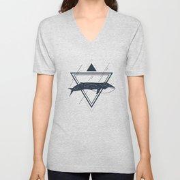 Cosmic Whale. Geometric Style Unisex V-Neck
