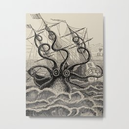 """The octopus; or, The """"Devil-fish"""" - Henry Lee - 1875 Giant Octopus Sinking Ship Metal Print"""