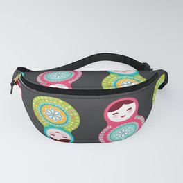 dolls matryoshka on black background, pink and blue colors Fanny Pack